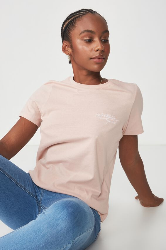 Basic Graphic T Shirt, PEACH SKIN_UNFAITHFULLY YOURS