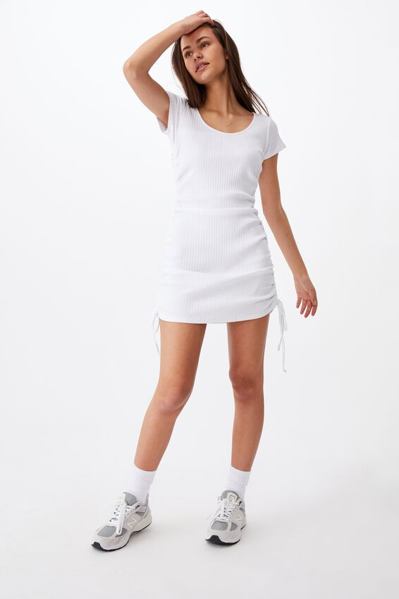 Short Sleeve Ruched Side Seam Dress, WHITE
