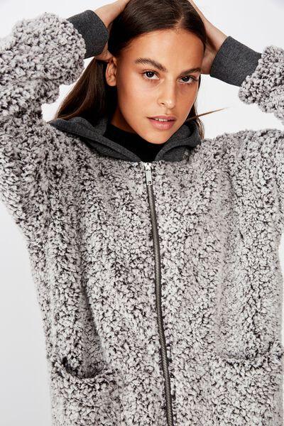 Plush Fleece Zip Thru Hoodie, BLACK MARLE