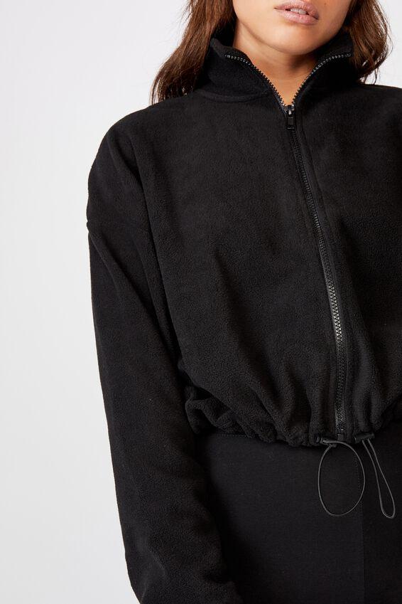 Crop Zip Thru Polar Fleece Jacket, BLACK