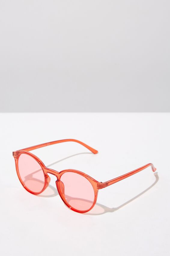Round Reese  Sunglasses, CRY RED_RED TINT