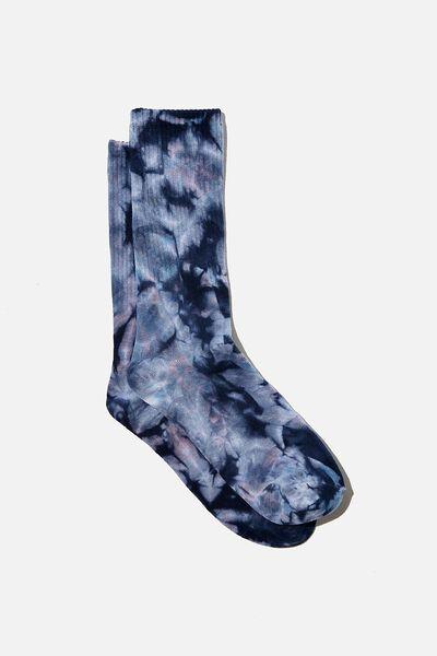 Retro Ribbed Socks, BLUE BELL MULTI TIE DYE