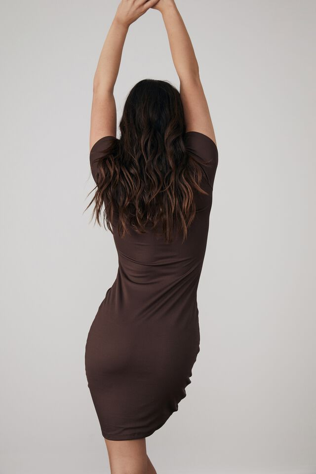 Ruched Front Short Sleeve Dress, BITTER CHOC