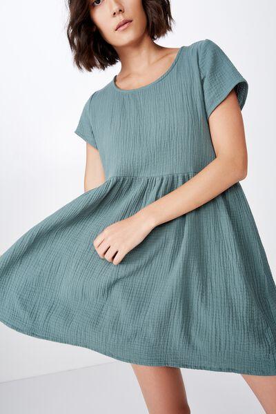 Short Sleeve Babydoll Dress, DARK FOREST