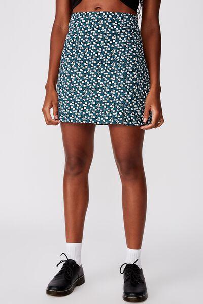 Double Split Mini Skirt, JAYDA GREEN DITSY