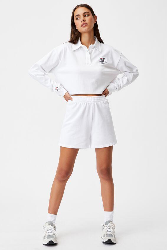 Fila Lcn Long Sleeve Crop Polo Top, WHITE