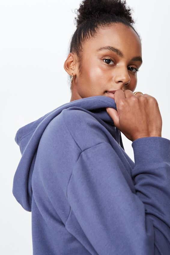 Raw Edge Crop Hoodie, CROWN BLUE