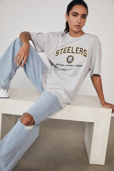 Lcn Super Relaxed Nfl Graphic Tee, LCN NFL GREY MARLE/STEELERS