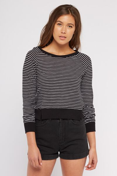 Stripe Me Up Raglan Longsleeve, BLACK/WHITE STRIPE