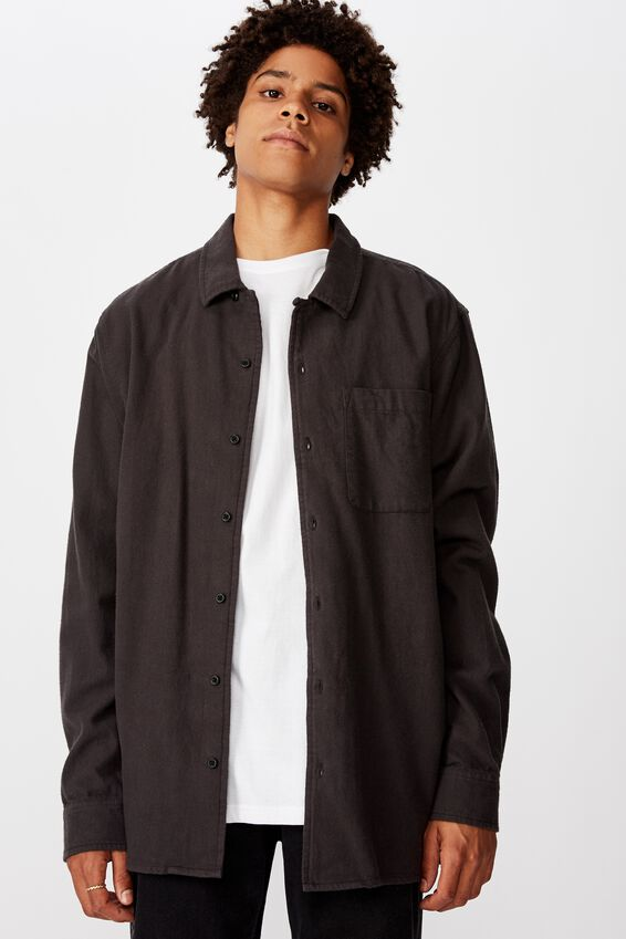Flanno Shirt, WASHED BLACK