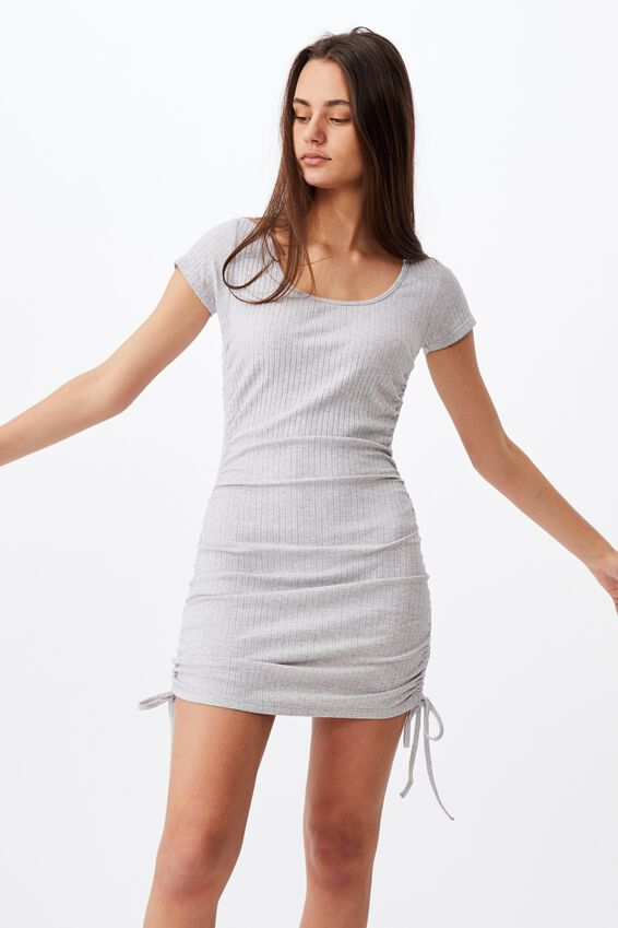 Ruched Side Rib Dress, GREY MARLE