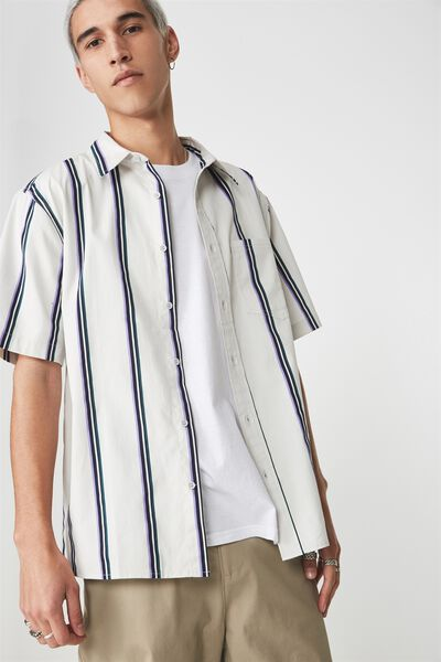 Ss Oversized Shirt, PALE GREY STRIPE