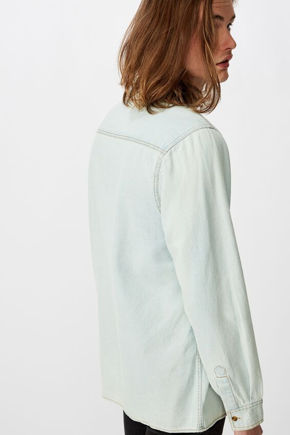 Long Sleeve Denim Shirt, BLEACH BLUE