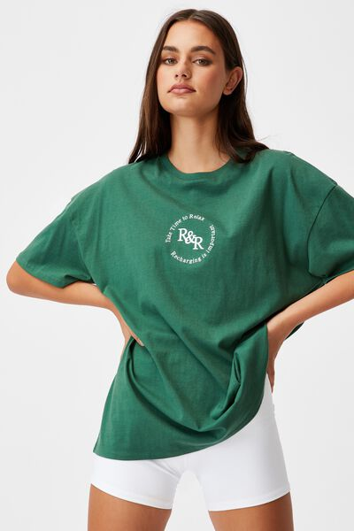 Super Relaxed Graphic Tee, HUNTER GREEN/R&R