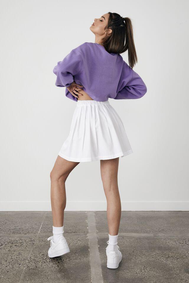Wrap Pleated Skirt, WHITE