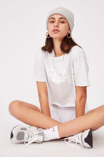 Fila Lcn Raw Edge Graphic T Shirt, SILVER MARLE/WHITE