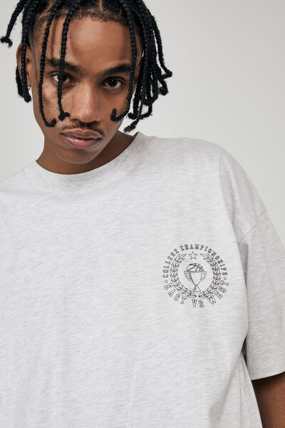 Oversized Graphic T Shirt, SILVER MARLE/COLLEGE CHAMPS