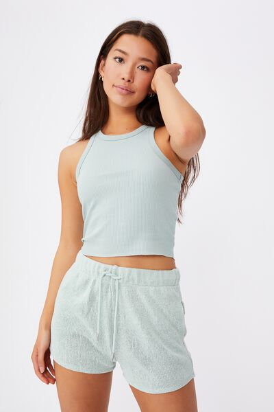 Textured Jersey Pull On Sporty Short, ETHER