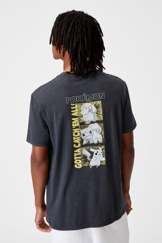 Regular Gaming T Shirt, LCN POK WASHED BLACK/POKEMON