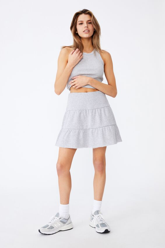 Fleece Teired Skirt, GREY MARLE