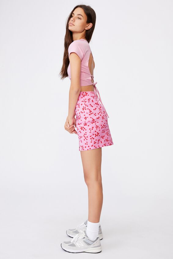 Double Split Mini Skirt, DARBY BABE PINK FLORAL
