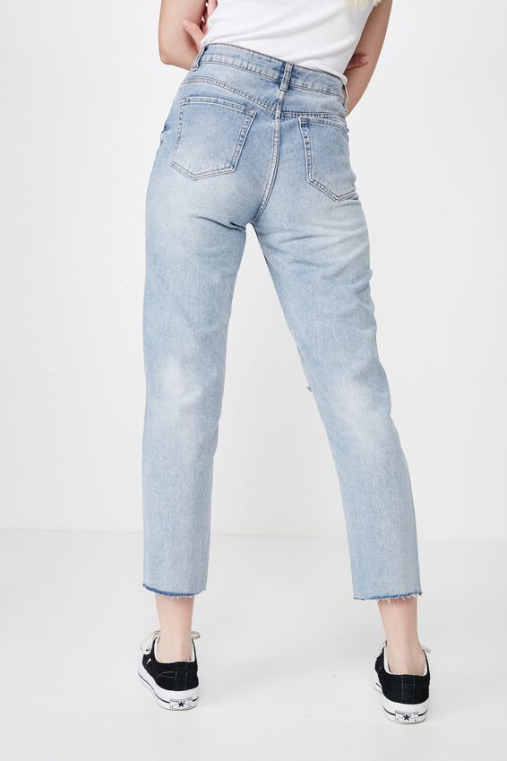 Distressed Mom Jean, WASHED BLUE