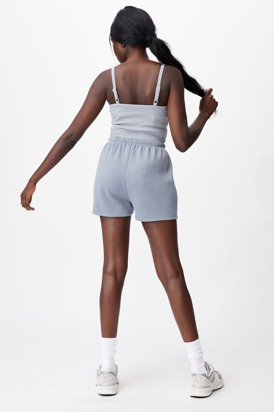Super Slim Fitted Fleece Short, FOG GREY