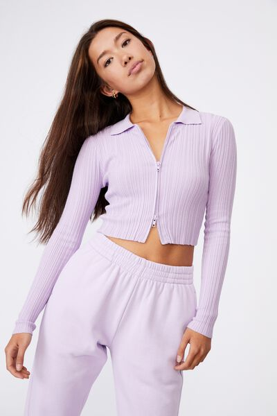 Ls Collared Crop Cardi, ORCHID BLOOM