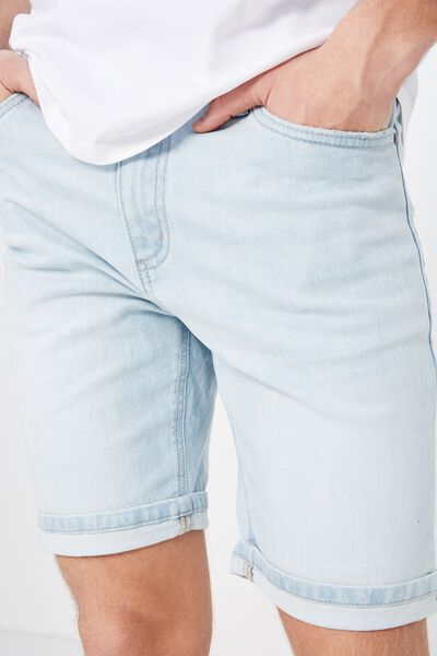 Tapered Denim Short, GLACIER BLUE