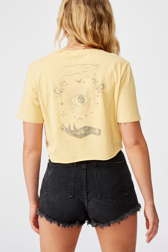 Short Sleeve Raw Edge Crop T Shirt, TAROT HAND/TEMPURA YELLOW