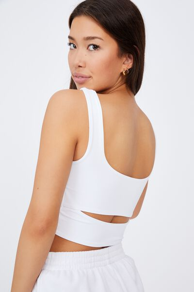 Cut Out Front Tank, WHITE