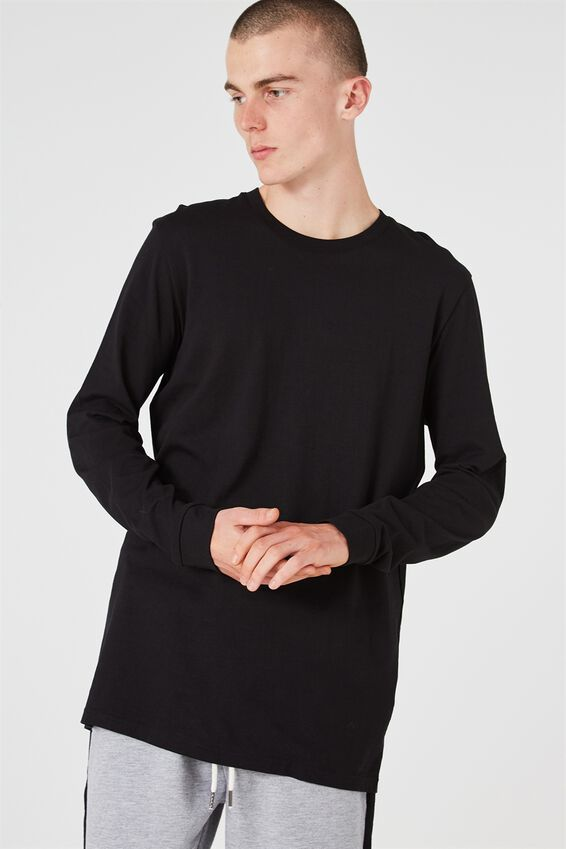 Slim Long Sleeve T Shirt, BLACK