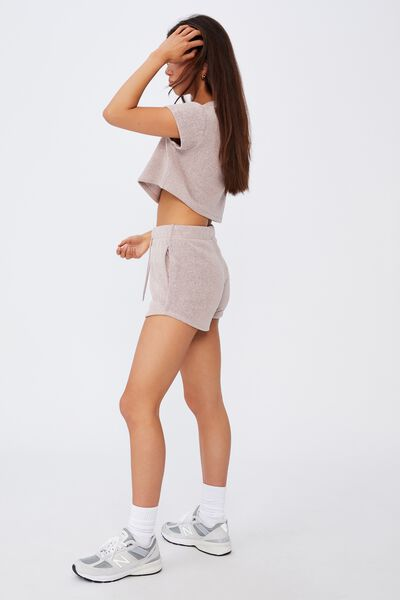 Textured Jersey Pull On Sporty Short, NATURAL