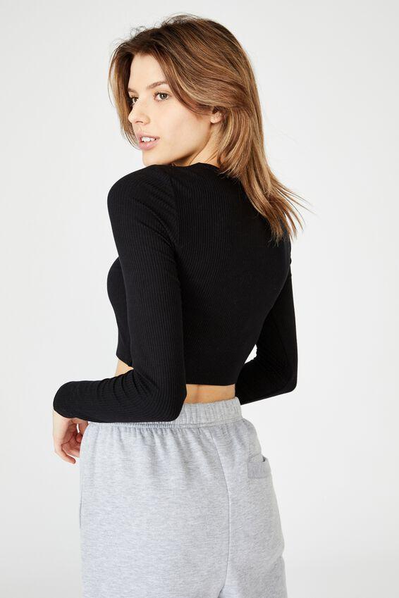 Key Hole Front Long Sleeve Top, BLACK