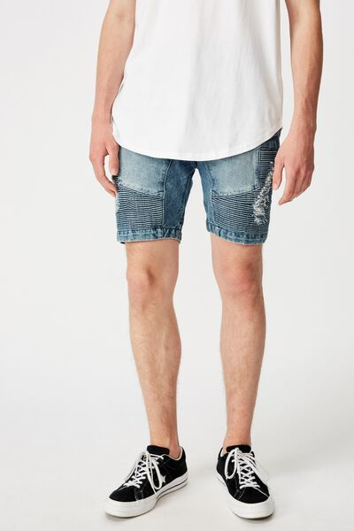 Moto Denim Short, MID BLUE