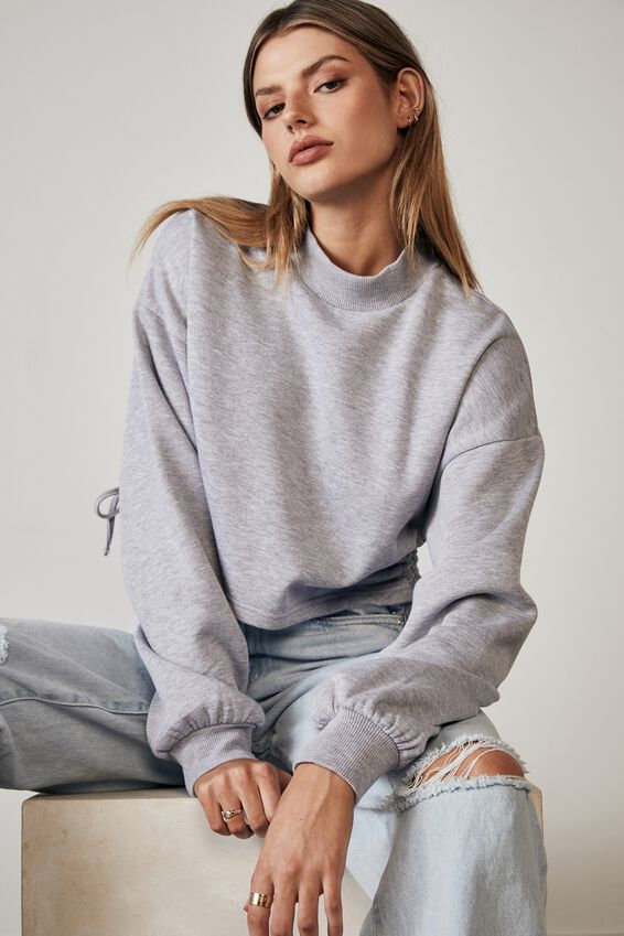 Ruched Side Crew, GREY MARLE