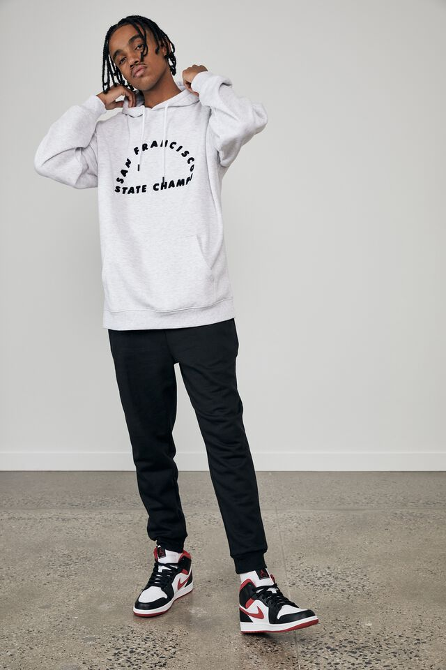 Oversized Graphic Hoodie, SILVER MARLE/SAN FRANCISCO