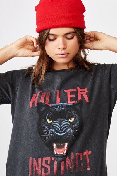 Relaxed Graphic T Shirt, WASHED BLACK/KILLER INSTINCT