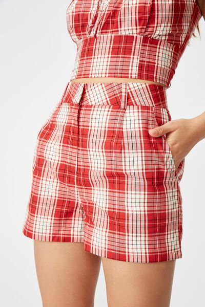Fitted Mini Short, BAILEY CHECK_RED