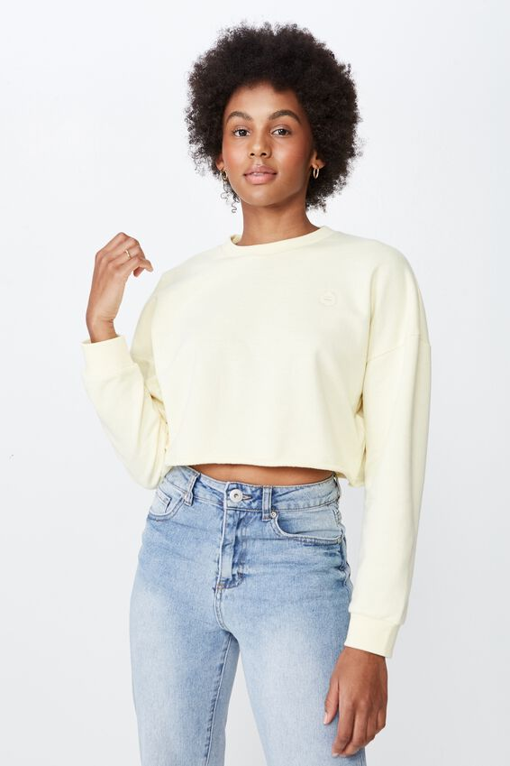 Raw Edge Crop Crew, PASTEL YELLOW
