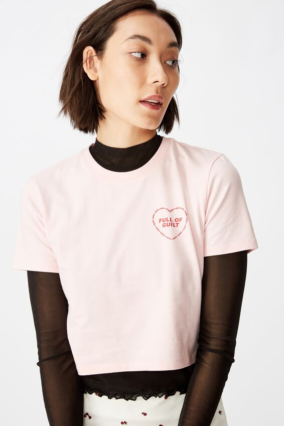 Fitted Graphic T Shirt, FAIRYTALE PINK/WIRE HEART