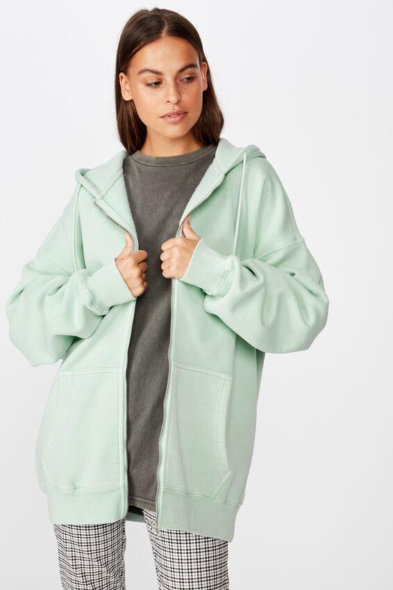 Oversized Heavy Washed Fleece Jacket, WASHED MINT