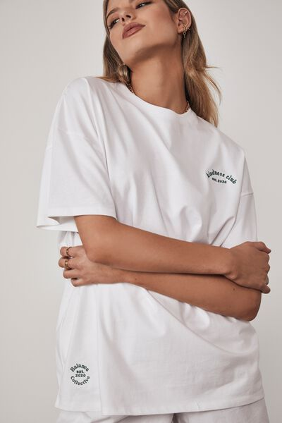 Super Relaxed Graphic Tee, WHITE/KINDNESS CLUB