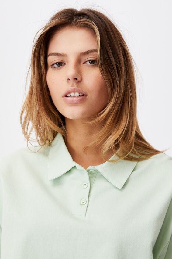 Short Sleeve Crop Polo Top, CELADON