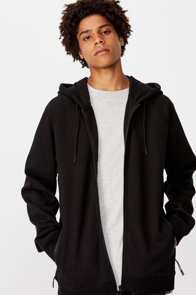 Tech Zip Through Hoodie, BLACK