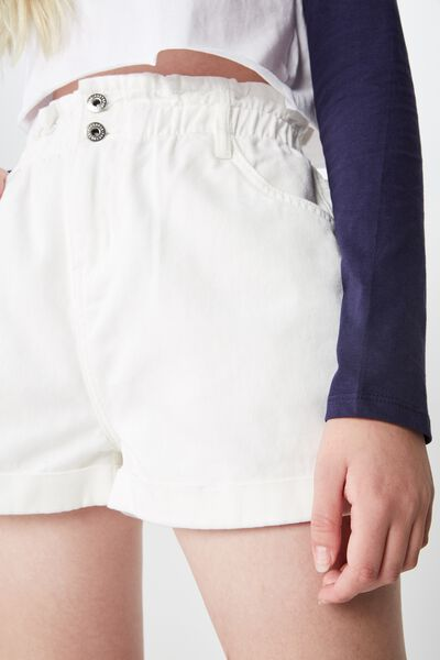 Denim Paperbag Short, WHITE