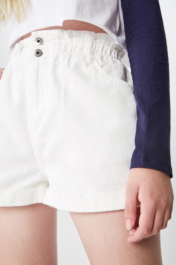 Denim Paperbag Short, WHITE