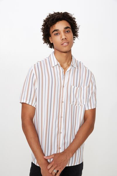 Resort Shirt, TAUPE STRIPE