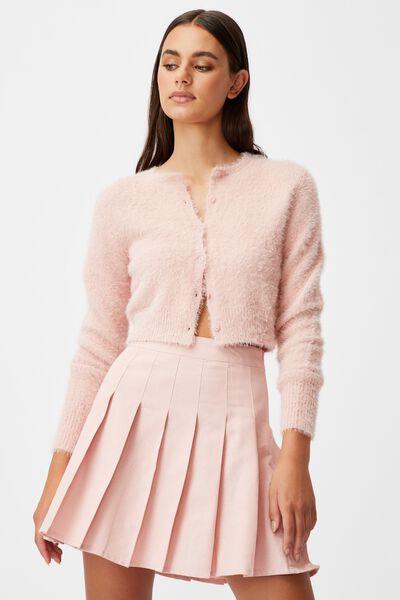 Fluffy Knit Slim Fit Cardi, SILVER PINK