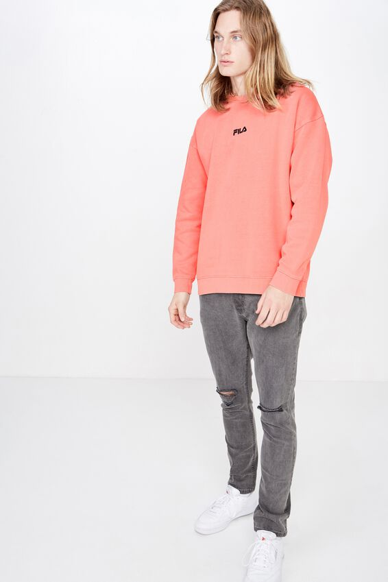 Fila Lcn Embroidered Oversized Crew, WASHED CORAL